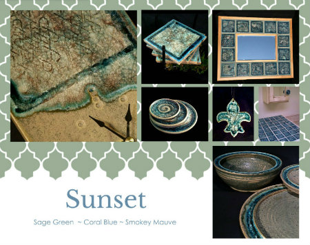 ceramic art glass sunset color