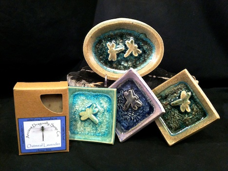 recycled glass dishes and handmade soap