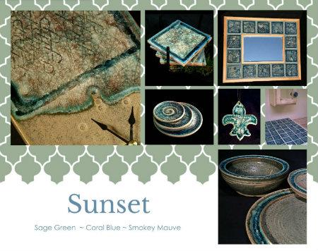 ceramic art glass sunset color